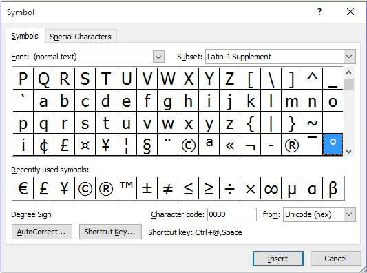 degree-sign-in-word