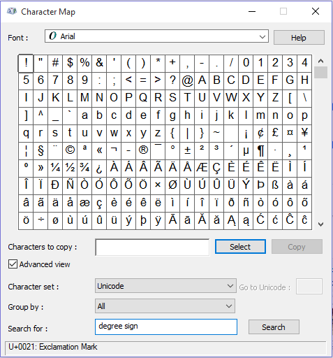 insert-degree-sign-in-word-character-map-search
