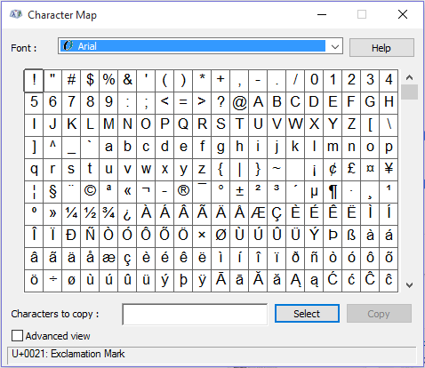 insert-degree-sign-in-word-character-map-program