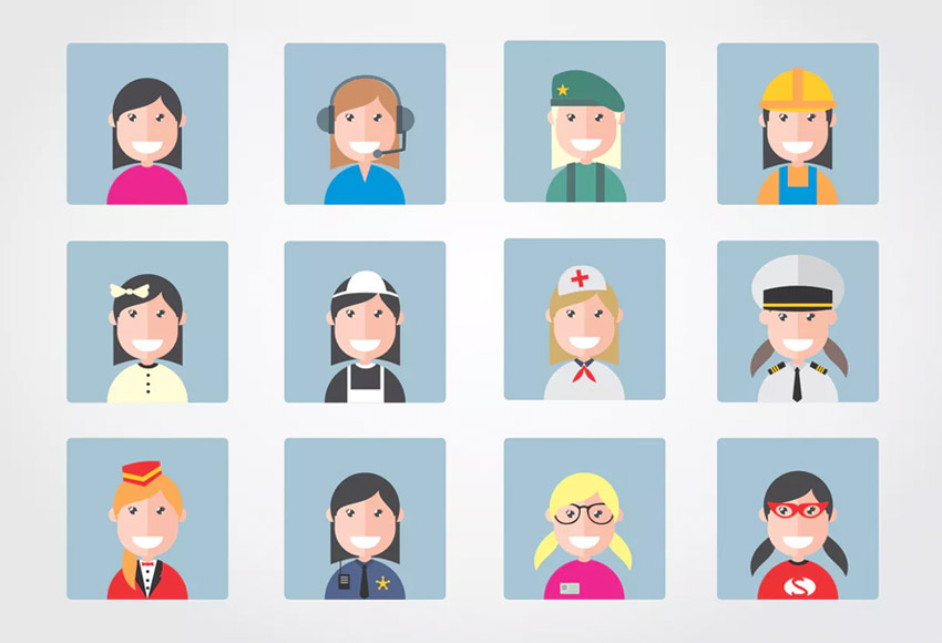 12 Female Flat Occupation Vector Illustrations