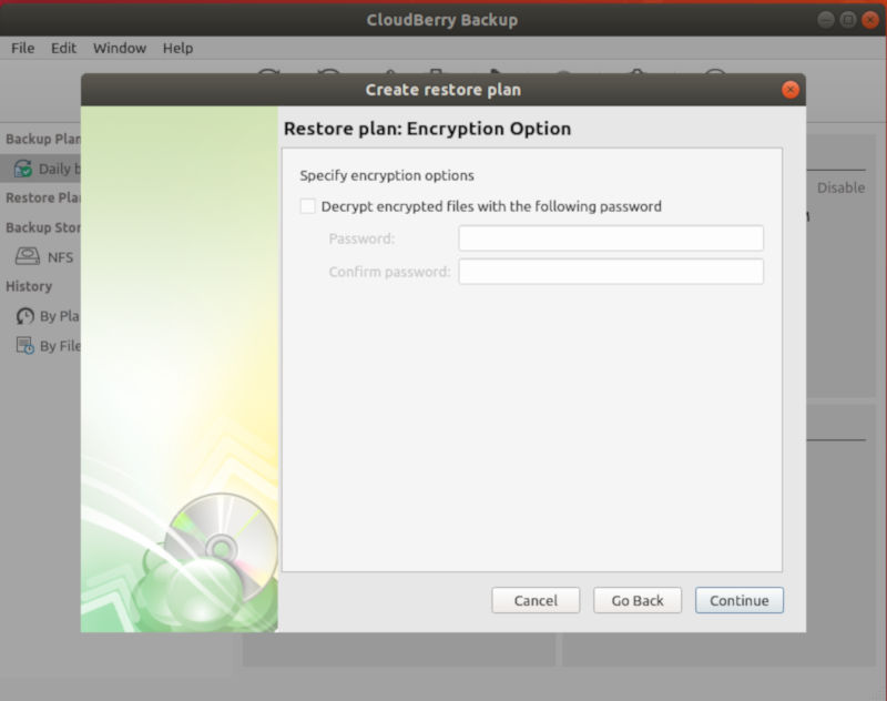 Enter Encryption Password For Restore