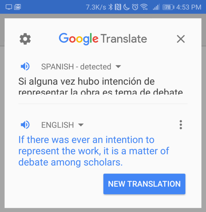 Google Translate highlighted