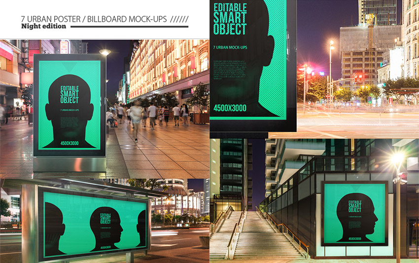 Urban Poster Billboard PSD Mock-ups