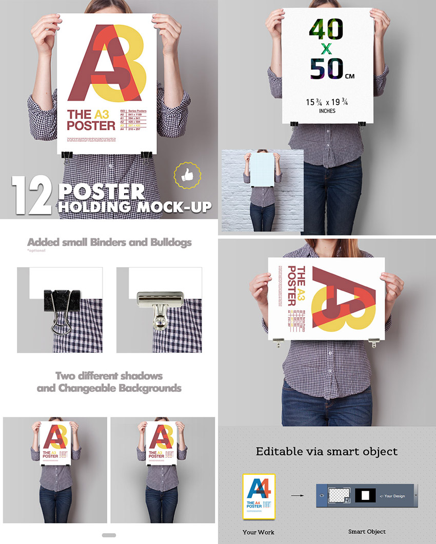 Standing Poster Mockups PSD Multiple Images