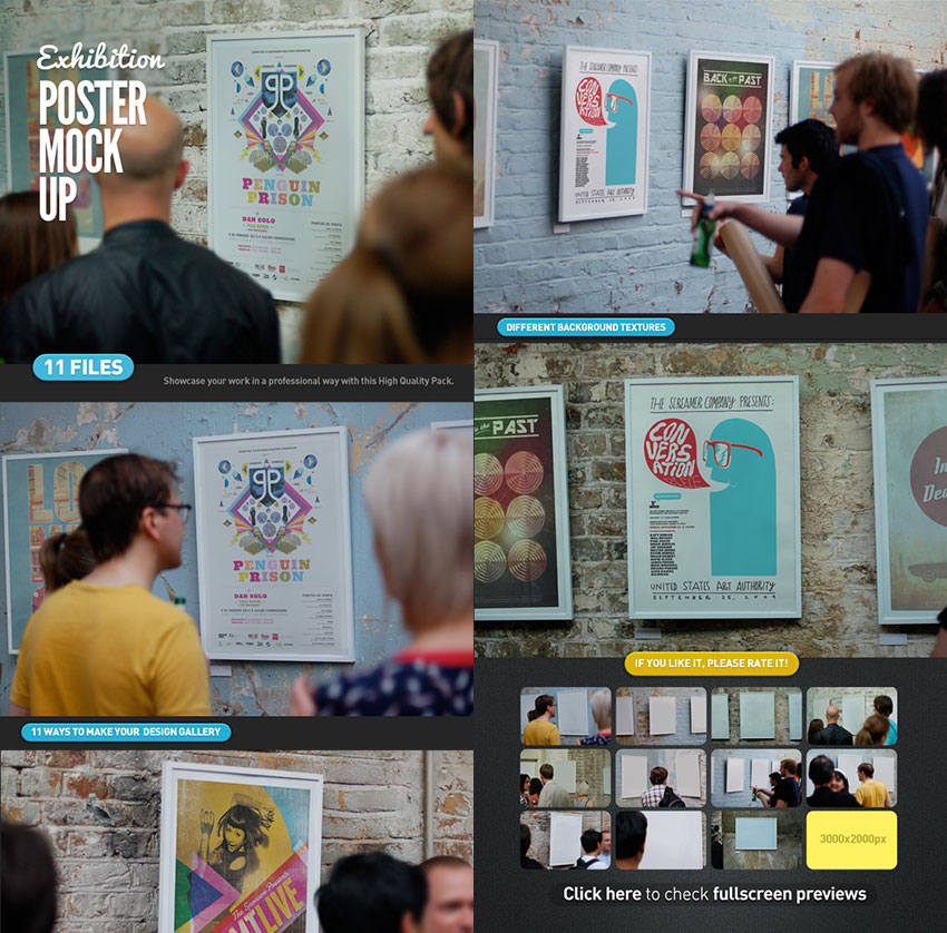 Creative Photoshop Poster Exhibition Gallery Mock-Up