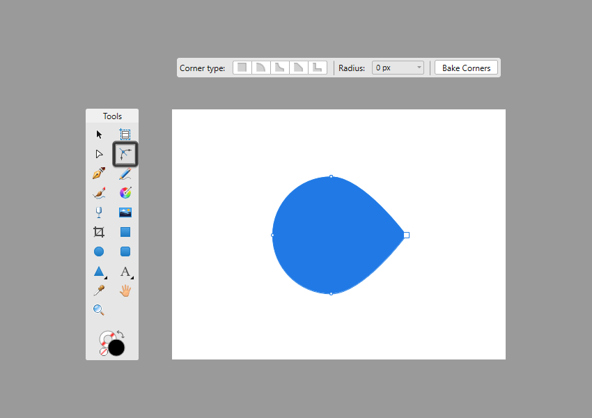 example of shape that will be adjusted using the corner tool