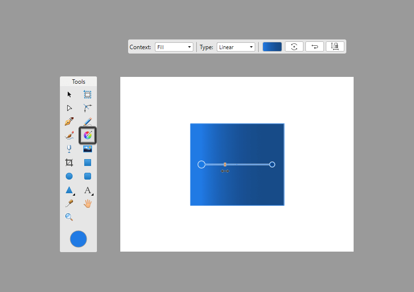 adjusting the spread of a color stop using the mid point slider