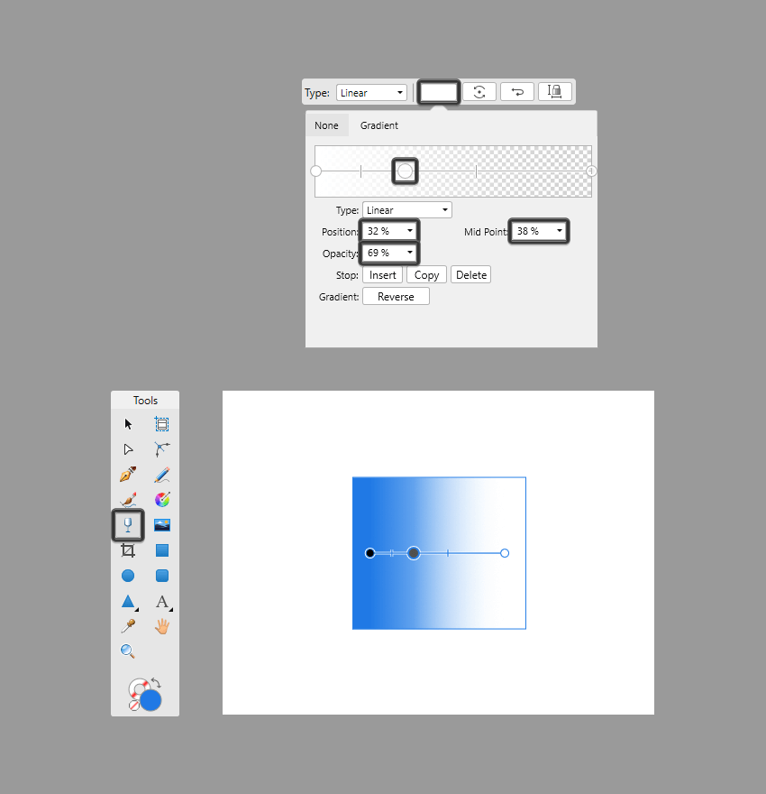 adjusting a transparent gradient using the dropdown control panel