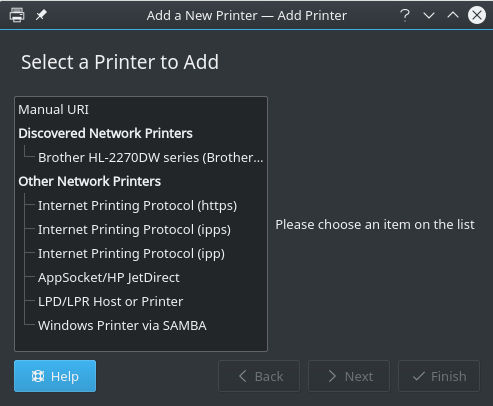 KDE Available Printers