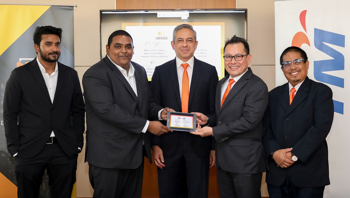 (From left) Tenderin COO Lakshman Das; Tenderin CEO Thinesh Kumar; TM acting group CEO Bazlan Osman; TM chief digital officer Ahmad Azhar Yahya; and TM chief procurement officer Mohamad Mohamad Zain